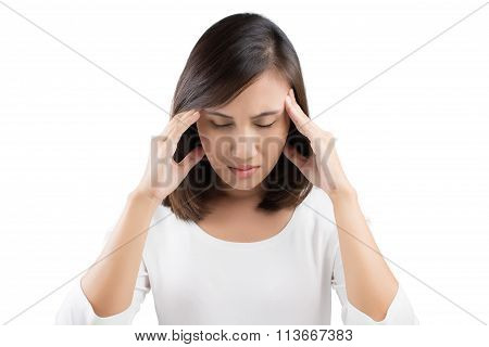 Woman Having A Headache On White Background