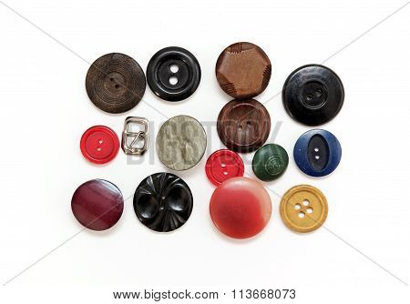 A Set Of Old Buttons From Clothing