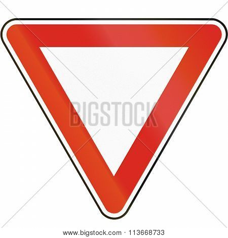 Road Sign Used In Slovakia - Yield