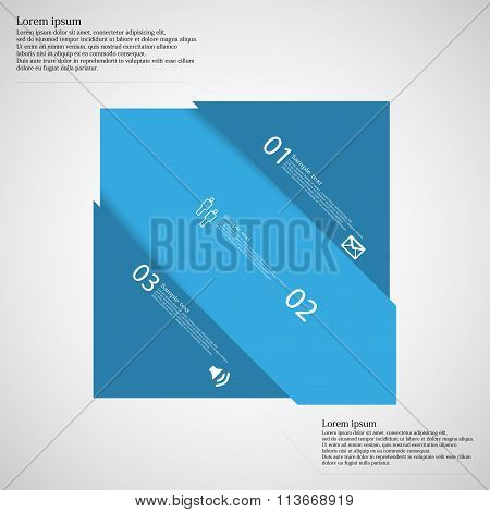 Light Illustration Infographic With Rectangle Askew Divided To Three Parts