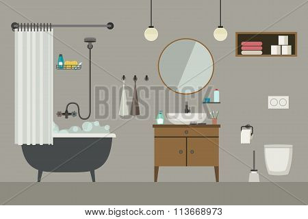 Bathroom interior with furniture.