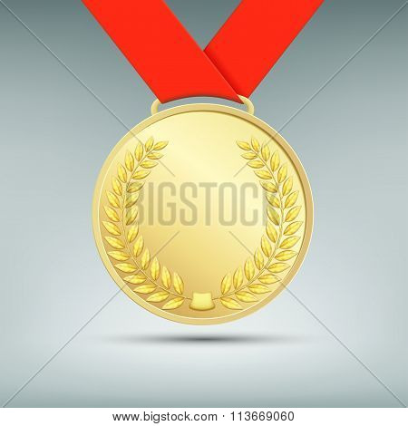 Gold Medal With Red Ribbon.