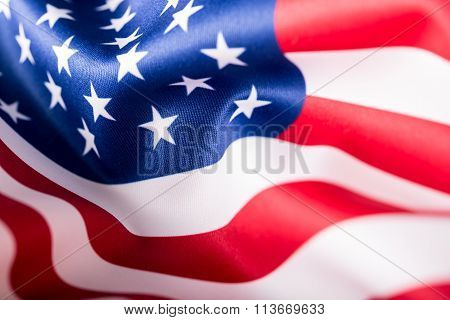 USA flag. American flag. American flag blowing wind. Close-up. Studio shot