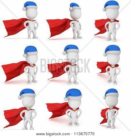 3D Man - Brave Superhero With Santa Claus Hat. Set.