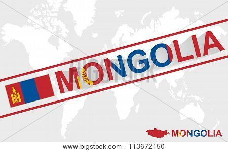 Mongolia Map Flag And Text Illustration
