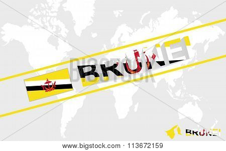 Brunei Map Flag And Text Illustration