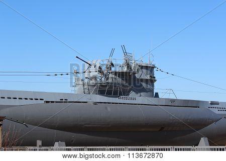 Submarine boat U995 detail in Laboe, Germany