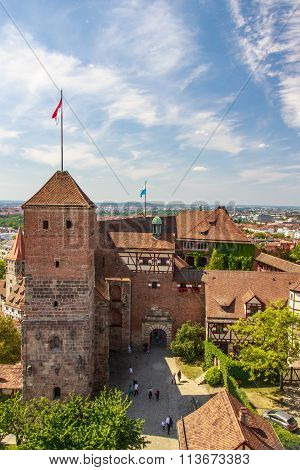 NUREMBERG, GERMANY - AUGUST 23, 2015: The Nuremberg Castle (Nürnberger Burg) is one of the main sights of the city the castle and it's historical buildings are located on a sandstone rock in the north of Nuremberg
