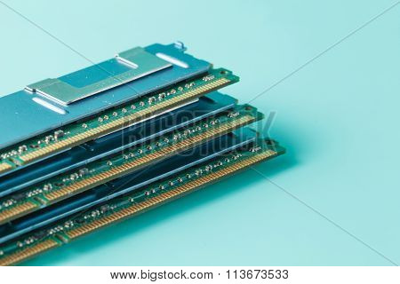 Computer Memory Modules On The Aquamarine Background