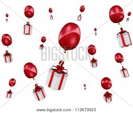 Gift boxes flying in balloons