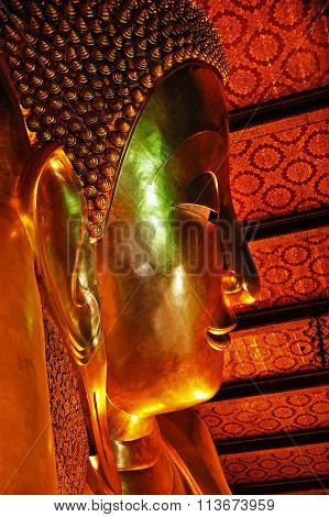 Face Of The Buddha Statue In Wat Pho Temple, Bangkok, Thailand