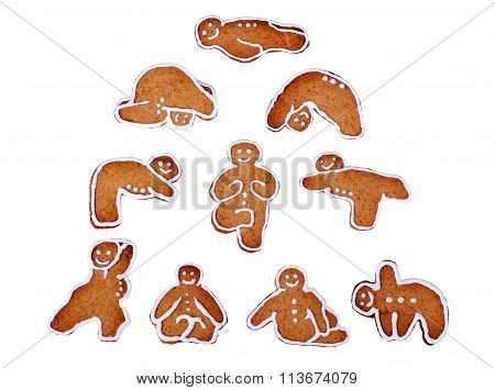 Gingerbread Cookies In The Form Of Yoga Men