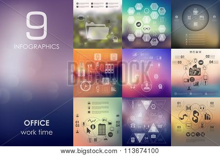 office infographic with unfocused background
