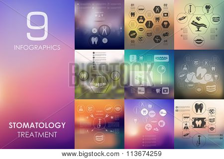 stomatology infographic with unfocused background