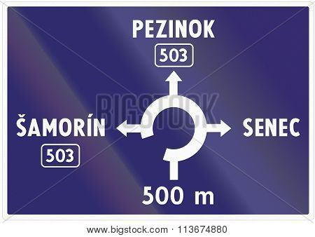 Road Sign Used In Slovakia - Advance Information About Intersection With Roundabout
