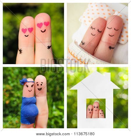 Collage finger art of a happy couple. The different stages of the life of a couple.