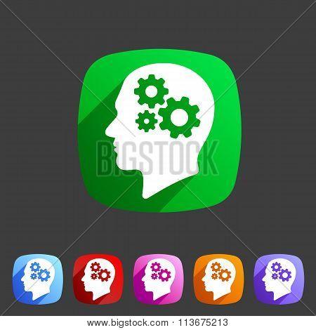 Head think idea gear icon flat web sign symbol logo label