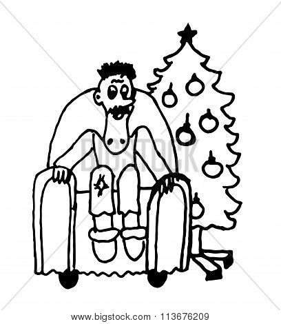 a man sitting in a chair comic caricature cartoon outline vector illustration