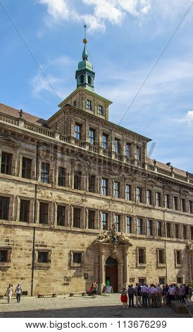 NUREMBERG, GERMANY - AUGUST 23, 2015: The town hall (Altes Rathaus) is one of the few buildings in Nuremberg which are influenced by the Renaissance it was destroyed in second world war rebuilt in 1956.