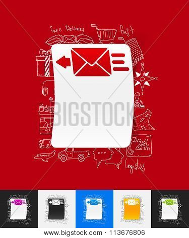 envelope paper sticker with hand drawn elements