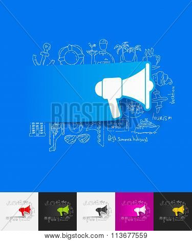 megaphone paper sticker with hand drawn elements