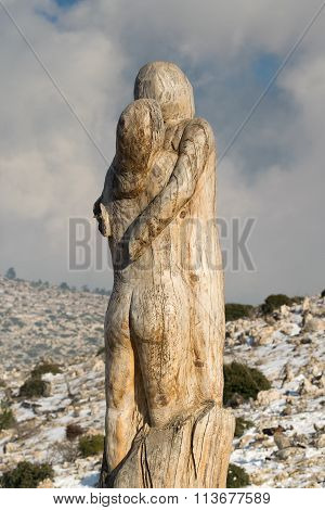 Athens, Greece 02 January 2016. The hope couple wood carving at the park of lost souls (Parko Psycho