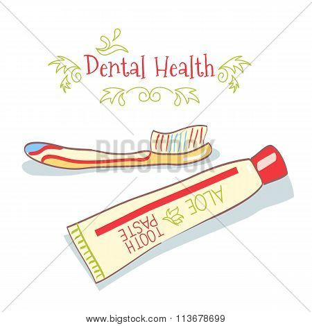 cartoon toothpaste and toothbrush
