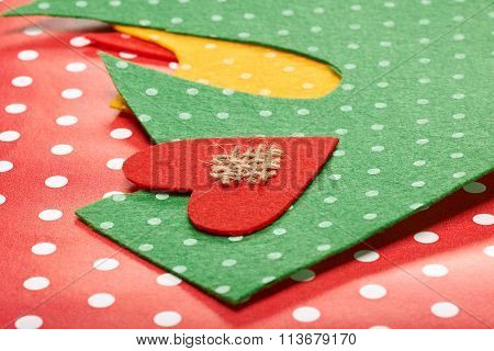 Love, Valentines Day. Polka dots felt, red heart