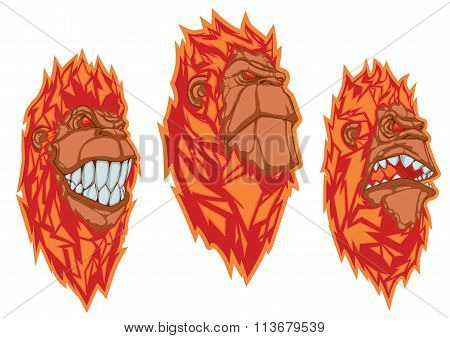 Burning Monkey Heads. Set Of Vector Stickers