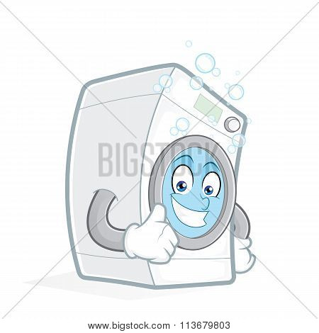 Washing machine giving thumbs up