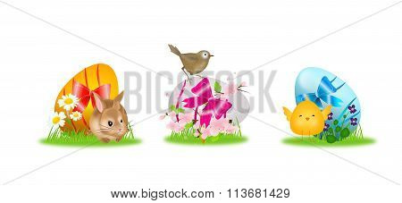 Colorful Easter Egg With Flowers And Animals