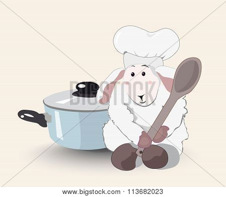 Lamb The Cook With A Wooden Spoon And A Blue Pan