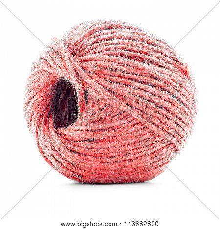 Red Fiber Skein, Crochet Thread Ball Isolated On White Background