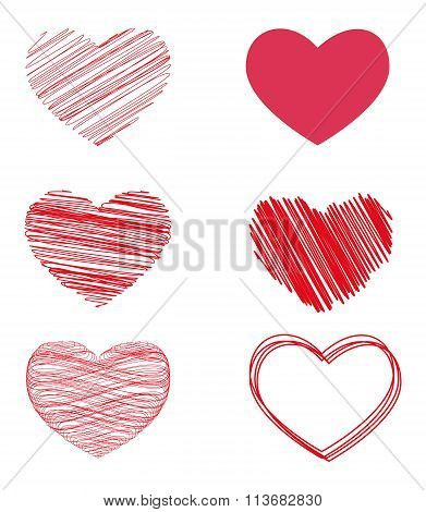 Vector Variants Of Hearts For Valentine's Day