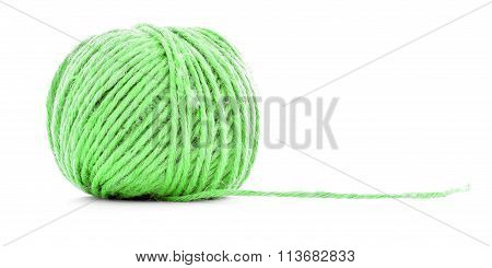 Green Traditional Clew, Knitting Thread Roll Isolated On White Background