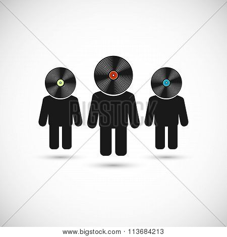 Audiophiles concept signs. Vector Illustration.