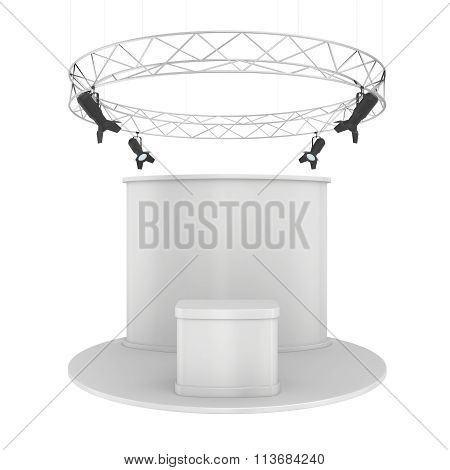 Blank exhibition stand. Isolated on white background