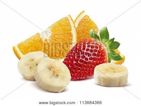 Orange Strawberry Banana Pieces Combo Isolated On White Background