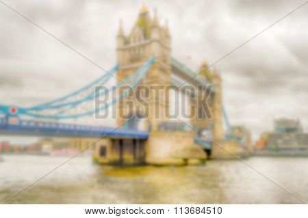 Defocused Background Of The Tower Bridge, London. Intentionally Blurred Post Production
