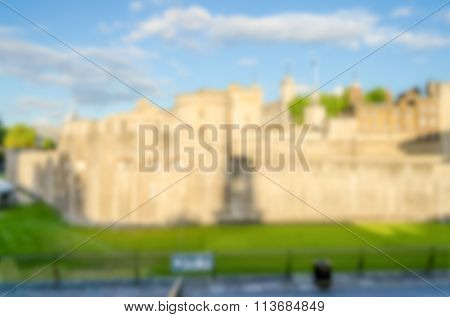 Defocused Background Of The Tower Of London. Intentionally Blurred Post Production