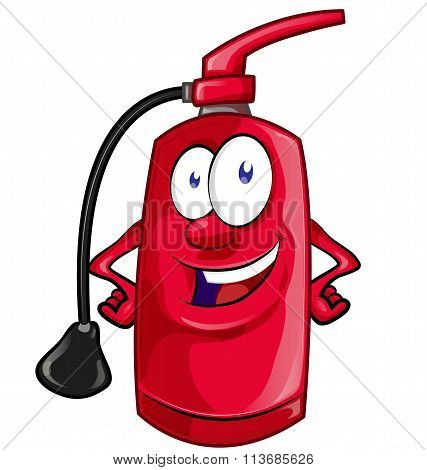 Cartoon Character Of Fire Extinguisher Isolated On White Background