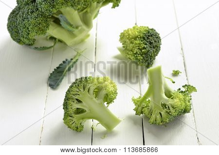 Fresh broccoli on a wooden background