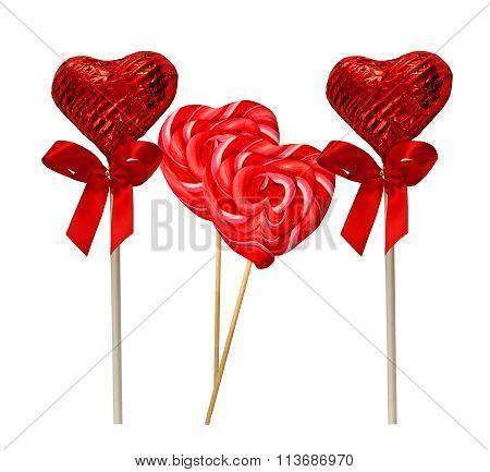 Four heart shaped Lollipops