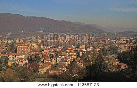 view of Bergamo from hills