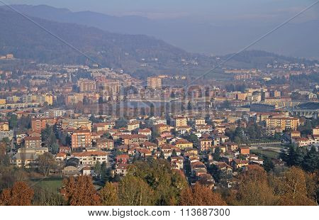 view of Bergamo from hills of the upper city
