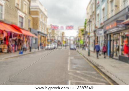 Defocused Background Of Portobello Road, London. Intentionally Blurred Post Production