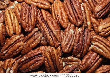 Big shelled pecan nuts background