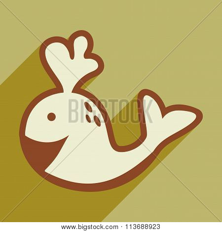 flat icon with long shadow whale fountain