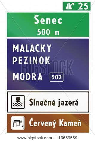 Road Sign Used In Slovakia - Direction Sign. Slnecne Jazera Literally Means Sunny Lakes