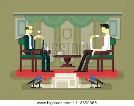 Politician interview flat design